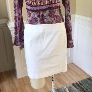 Gap white cotton slim skirt stretch six 6